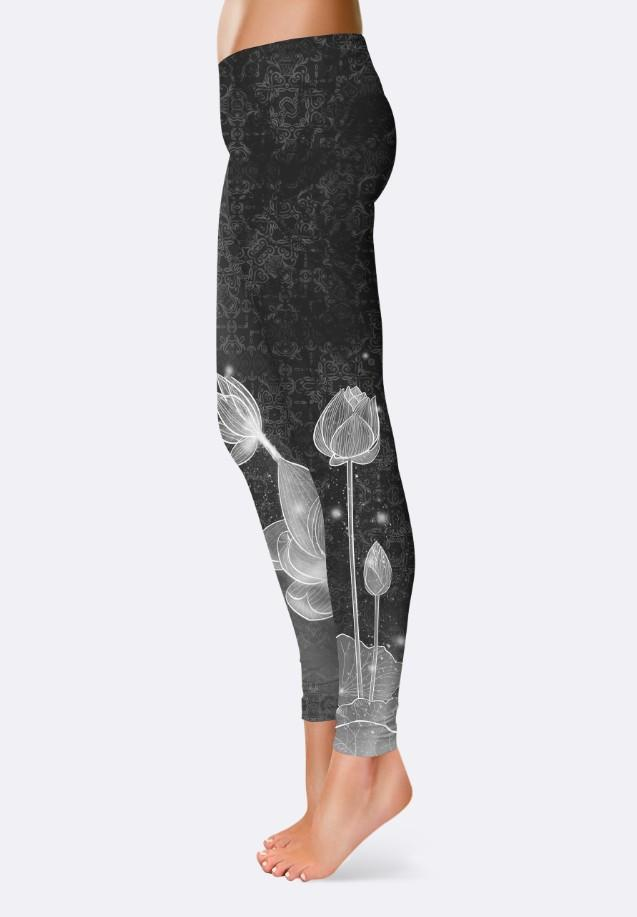 Leggins Grey Flowers