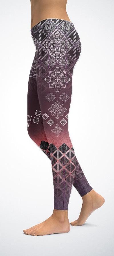 Leggins Mandala Red Ornament